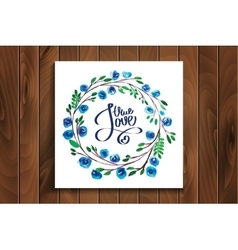 Lettering with true love framed watercolor flowers vector
