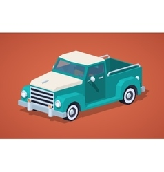 Low poly turquoise retro pickup vector image vector image