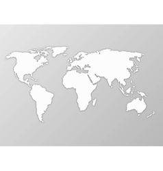Map of world with shadow on grey background vector image