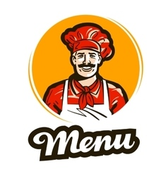 Menu logo restaurant cafe or cook chef vector