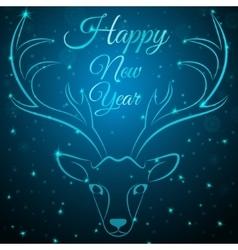 Merry christmas blue deer head vector
