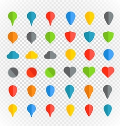 Navigation pins color collection on transparent vector image vector image