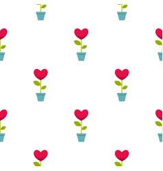 Pink heart flower in a pot pattern seamless vector