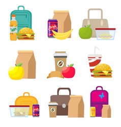 School lunch food boxes and kids bags vector