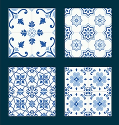 Set of vintage ceramic tiles in azulejo design vector