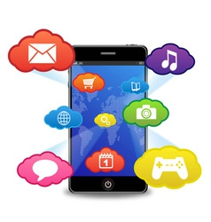 smart phone with applications vector image