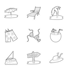 summer holidays icons set outline style vector image