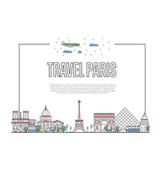 Travel paris poster in linear style vector
