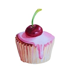 Watercolor hand drawn cupcake with cherry vector