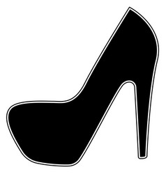 Woman shoes the black color icon vector