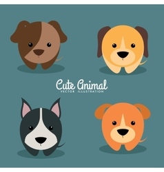 Cute cartoon dogs vector