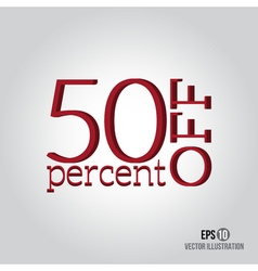 Red 50 sale price off icon with 50 percent vector