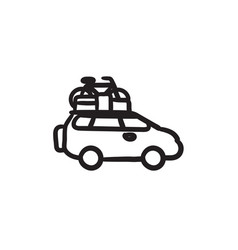 Car with bicycle mounted to the roof sketch icon vector