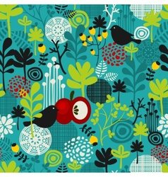 Birds and flowers seamless pattern vector