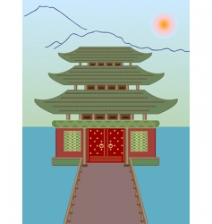 buddhist temple on water vector