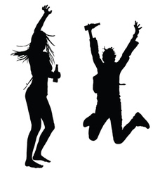 Girls dancing and jumping silhouette vector