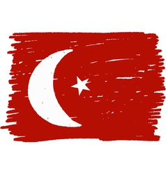 Flag of turkey handmade vector