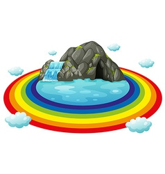 Cave and rainbow vector