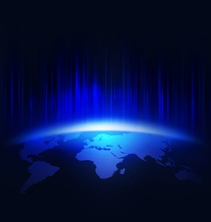 World in the bright rays of blue light vector