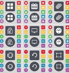 Apps calendar clip packing monitor clock vector