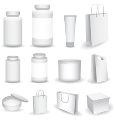 Blank Big Set of Plastic Packaging Bottles vector image