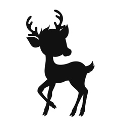 Cartoon reindeer silhouette vector