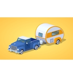 Low poly blue retro pickup with orange-white motor vector