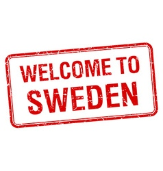 Welcome to sweden red grunge square stamp vector