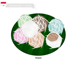 Klepon or indonesian stuffed pandanus rice cake vector