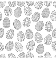 Seamless black and white pattern easter eggs for vector