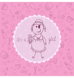 Baby card its a girl theme vector