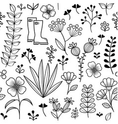 botanical seamless pattern hand drawn wild flower vector image vector image
