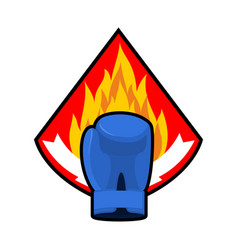 Boxing glove and fire emblem logo for sport team vector