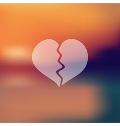 Broken heart icon on blurred background vector