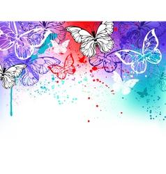Butterflies on Watercolor vector image vector image