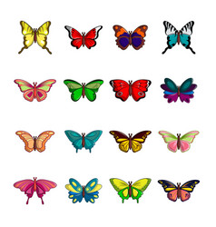 Butterfly collection icons set cartoon style vector