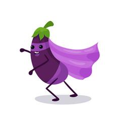 Cartoon character of purple eggplant in classic vector