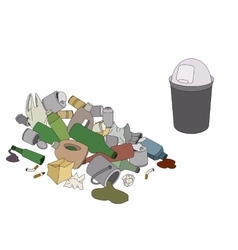 Different kinds of garbage and rubbish bin vector
