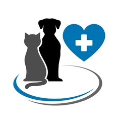 Dog cat and blue heart vector