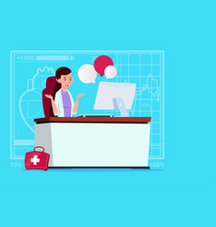 Female doctor sitting at computer online vector
