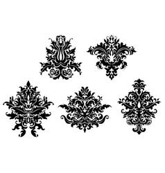 Floral damask patterns set vector image