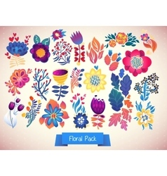 Flowers decorative set of doodle vector