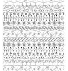 Flowers line doodle seamless pattern background vector