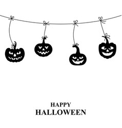 halloween pumpkin hang on the rope vector image vector image