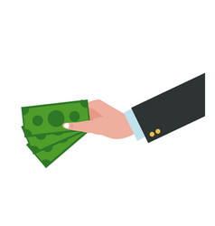 Hand holding dollar bill cash money vector