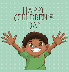 Happy children day card cute afro boy hands up vector