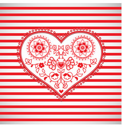 heart shape ornament on red striped background vector image vector image