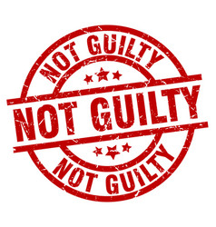 Not guilty round red grunge stamp vector
