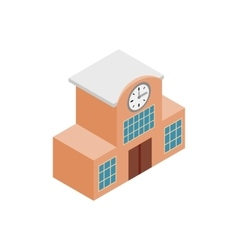 Railway station isometric 3d icon vector