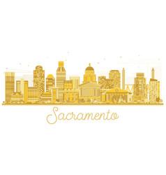sacramento california usa city skyline golden vector image